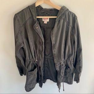 Anorak Utility Jacket Cinched Waist XXL Gray